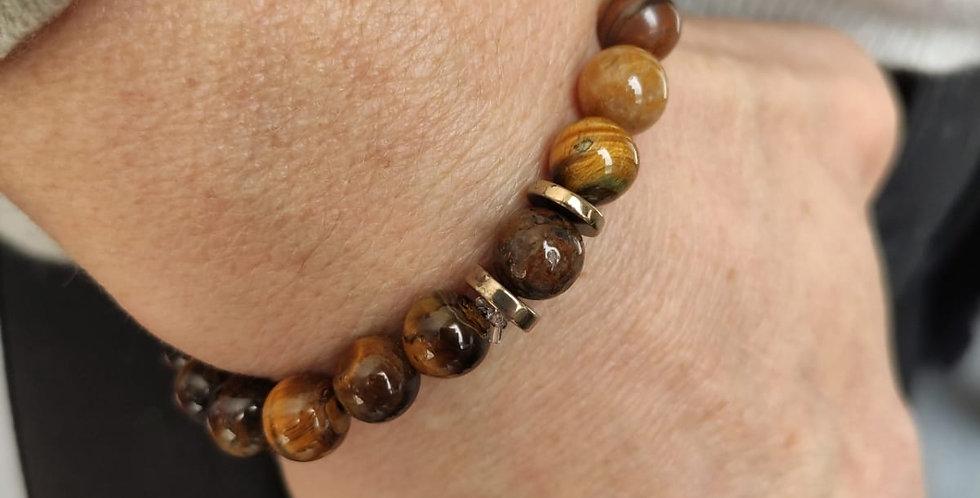 Bracelet femme mineral en Oeil de tigre