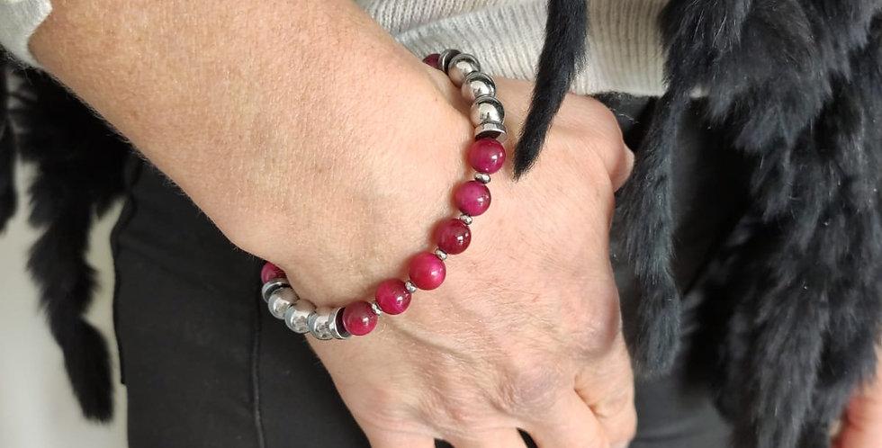 Bracelet femme en Oeil de tigre fushia et hématites