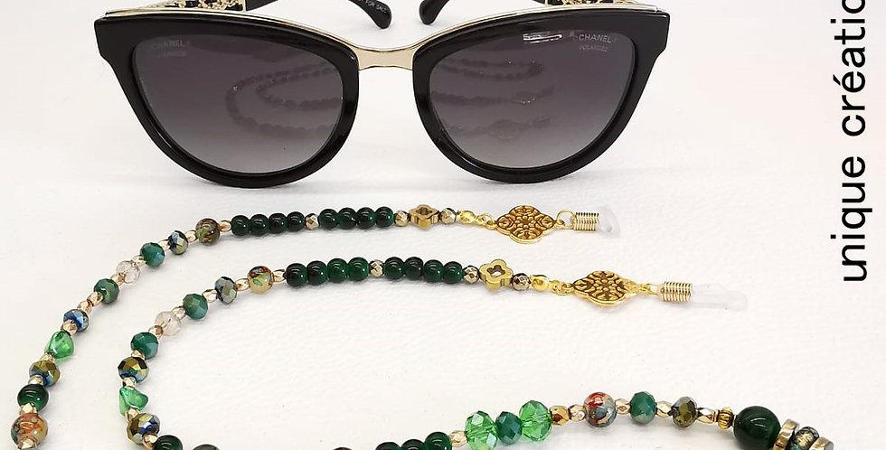 Cordon lunettes perles de cristal et hématites
