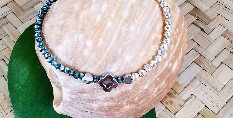 Bracelet Hématites et pierres de verre type Swarovski