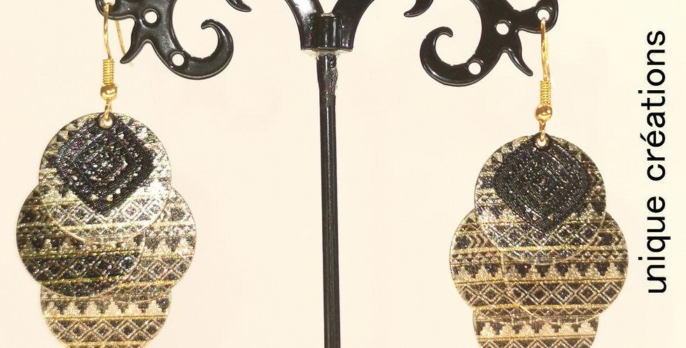Boucles d'oreilles Dorées et noires