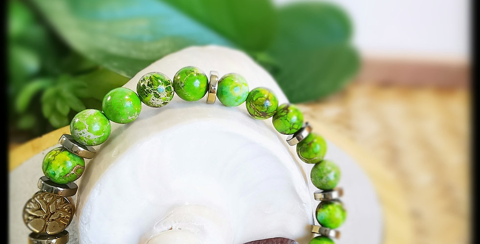 Bracelet, mixte, en Jaspe vert