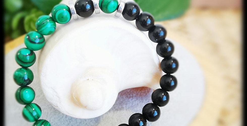 Bracelet en onyx noir, malachites