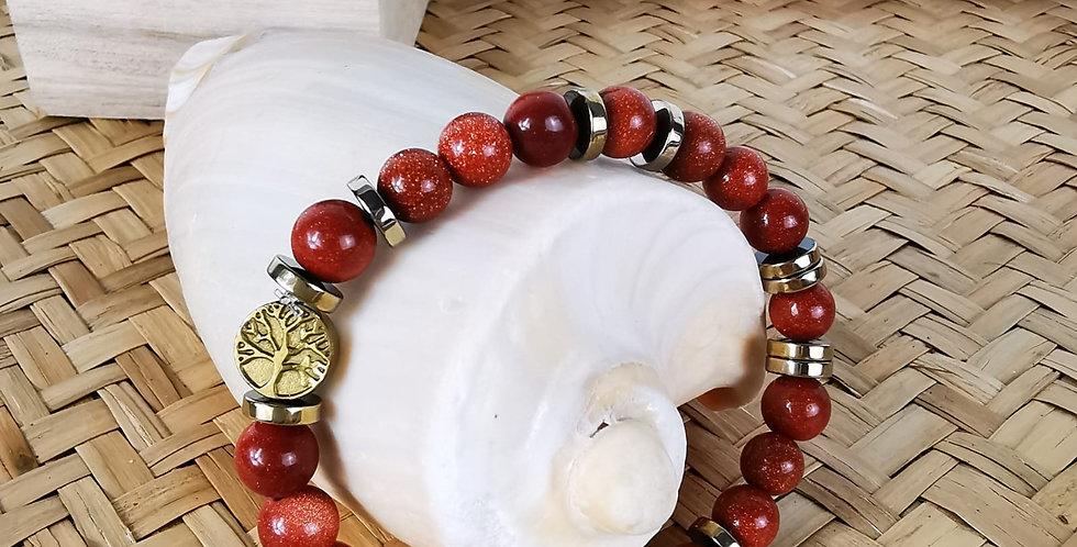 Bracelet femme en pierres de soleil et hématites dorées.