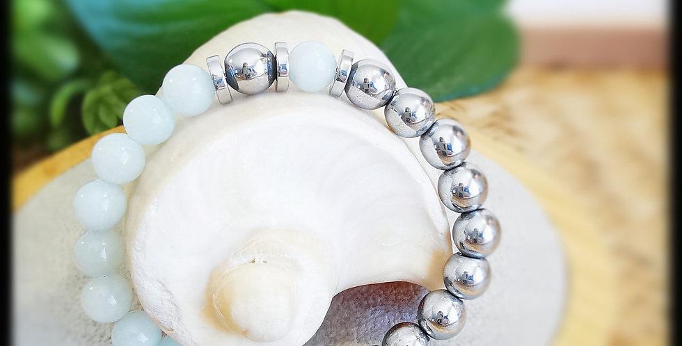 Bracelet femme en pierres de Jade bleu et hématites