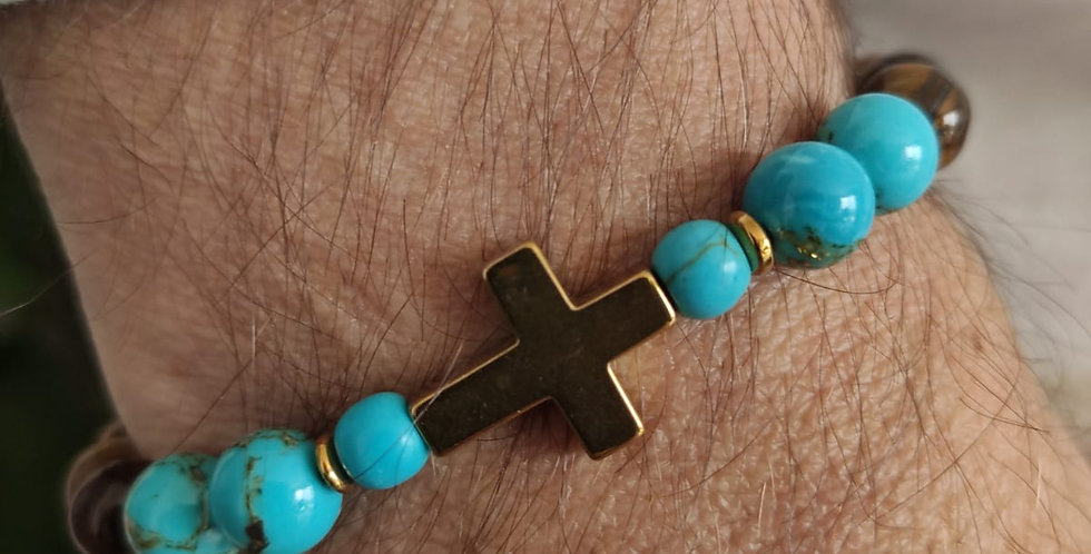 Bracelet homme en pierres de Jade bleu et hématites