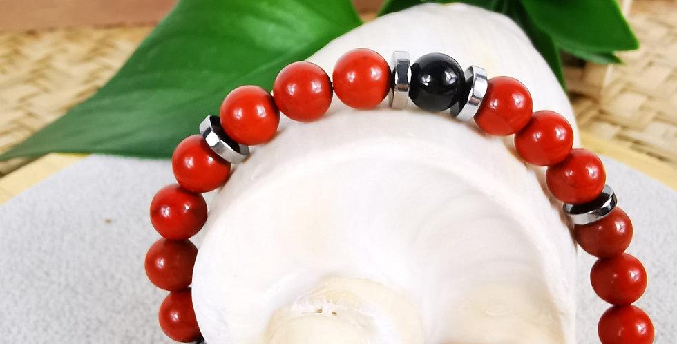 Bracelet en Jaspe rouge, onyx noir et hématites argentées