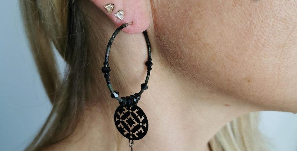 Boucles d'oreille fantaisie perles noires