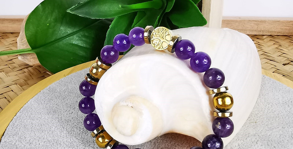 Bracelet en Améthyste et hématites dorées
