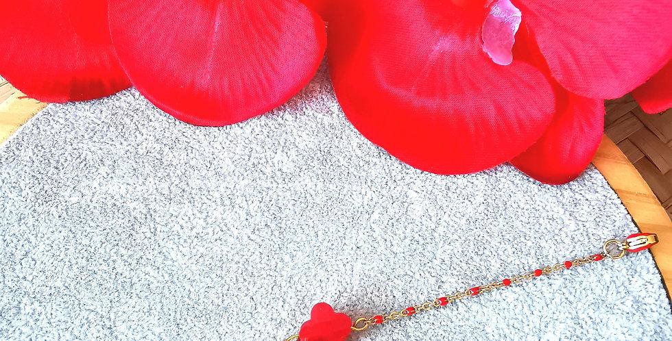 Bracelet en acier inoxydable, perles en epoxy rouge
