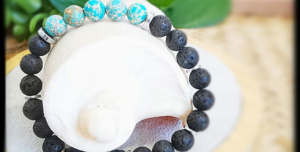 Bracelet homme, en pierres de lave et Jaspe océan
