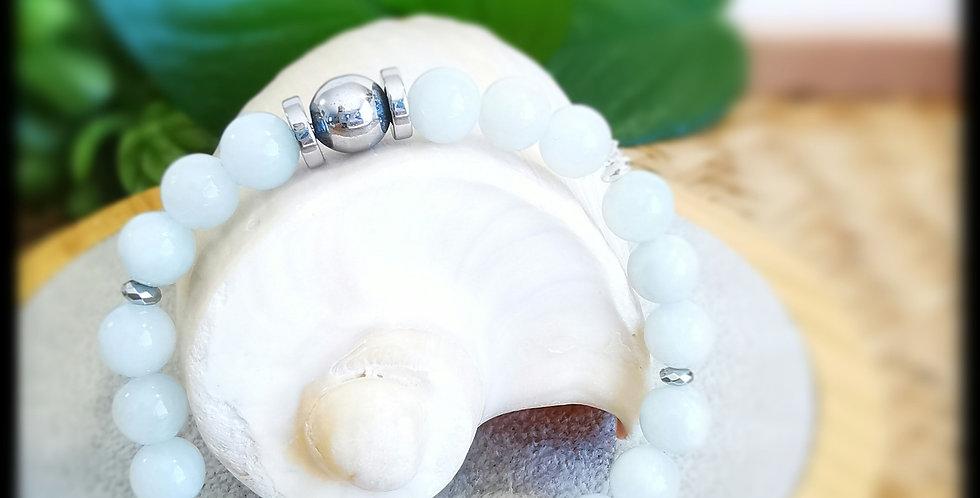 Bracelet femme en pierres de Jade bleu très clair