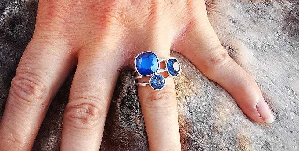 Bague Cristaux Swarovski 3 cristaux bleus