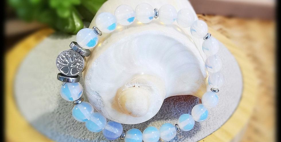 Bracelet, femme, en pierres de lune