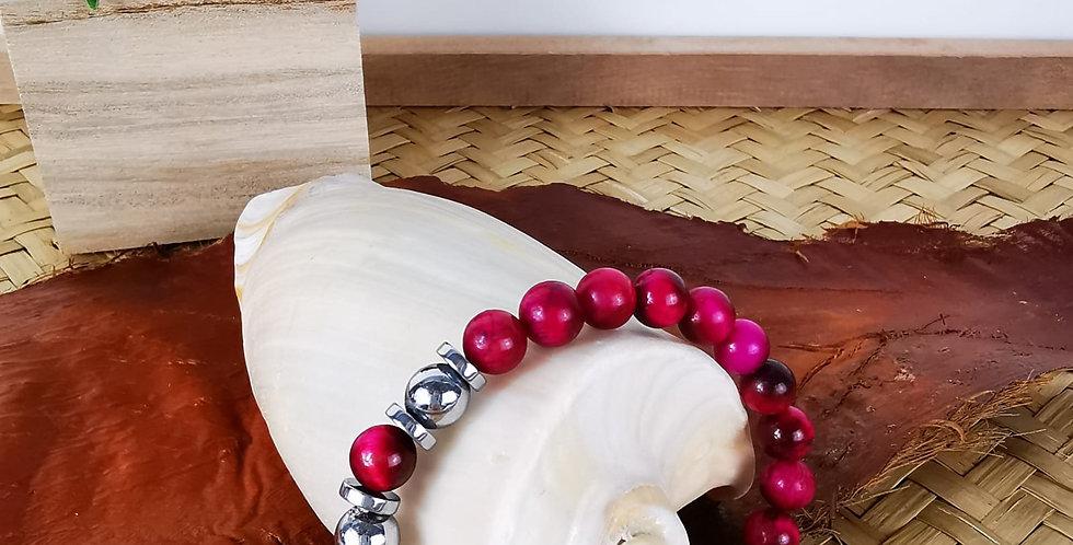 Bracelet femme Oeil de tigre fushia et hématites