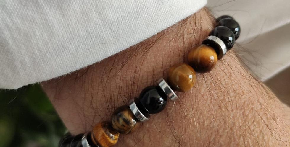 Bracelet homme mineral et hématites