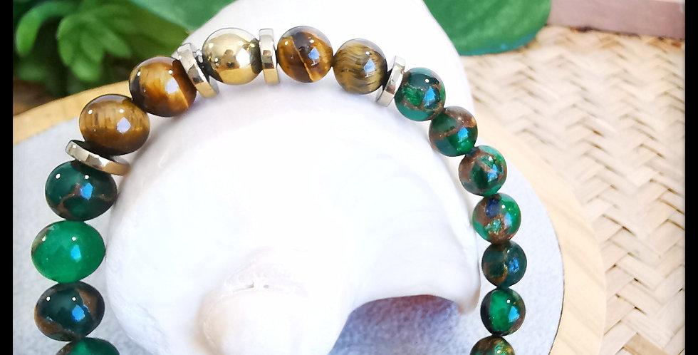 Bracelet, homme , en pierre de Quartz Émeraude