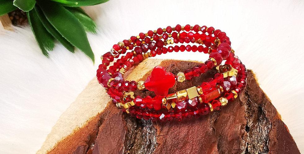 Bracelet multirangs, Hélène, rouge et doré