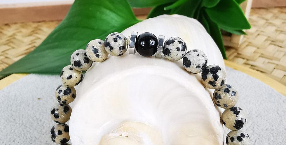 Bracelet homme en pierres de Jaspe Dalmatian