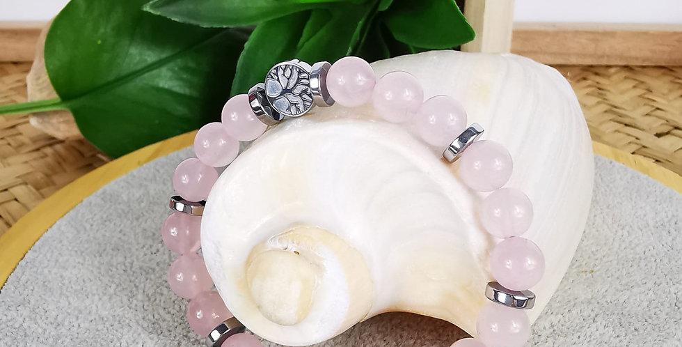 Bracelet femme en quartz rose