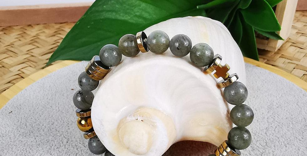 Bracelet en Labradorite et hématites dorées