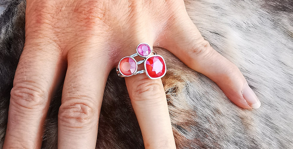 Bague Cristaux Swarovski 3 cristaux roses