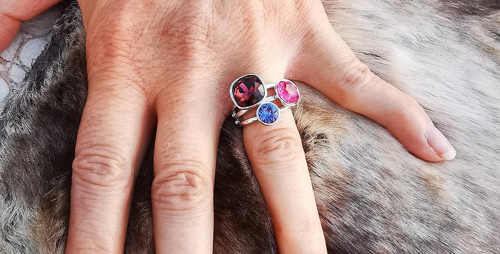 Bague Cristaux Swarovski 3 cristaux violets