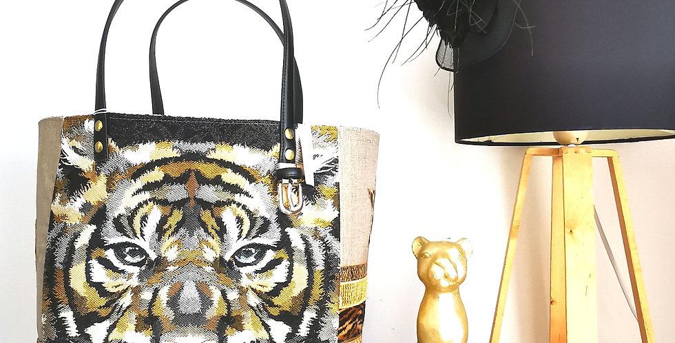 "Sac cabas Valy, collection ""Tigres"", noir et beige"
