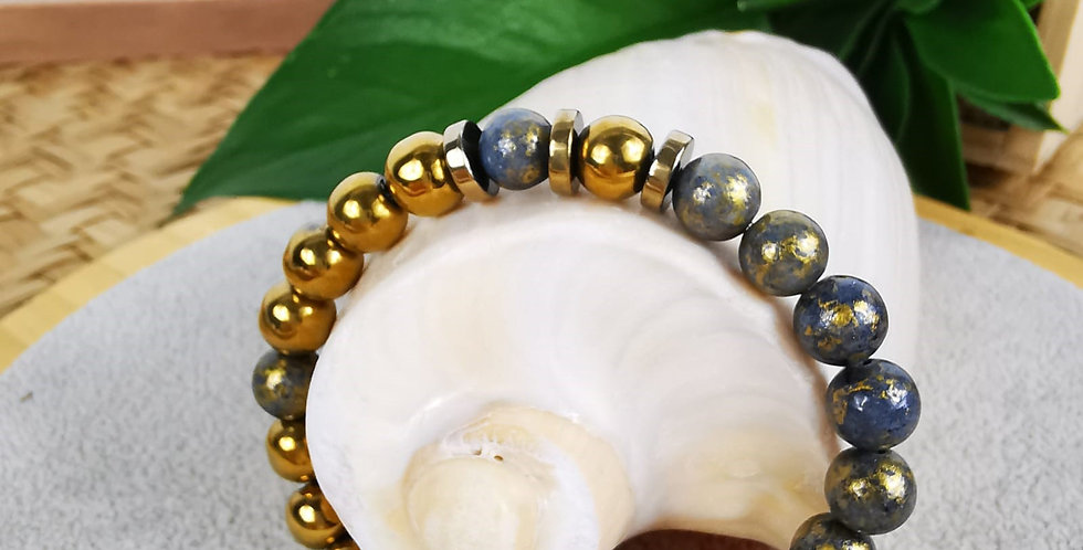 Bracelet en Jade tonnerre et hématites dorées