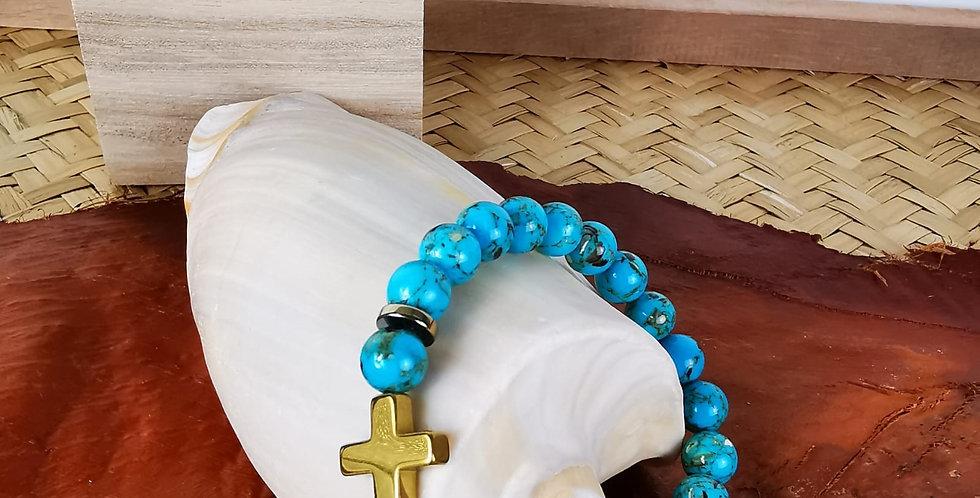 Bracelet homme en pierres minérales, jaspe et hématites