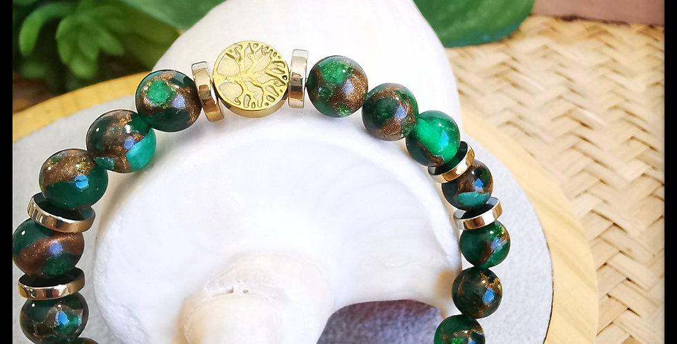 Bracelet mixte, en Quartz Émeraude