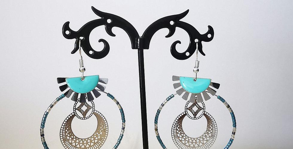 Boucles d'oreilles en acier inoxydable bleu turquoise