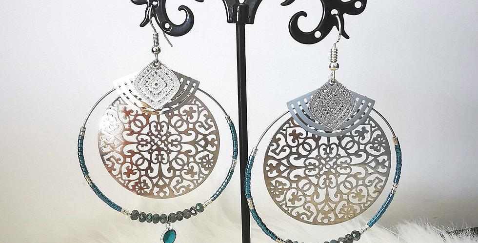 Boucles d'oreilles en acier inoxydable, bleu et argenté
