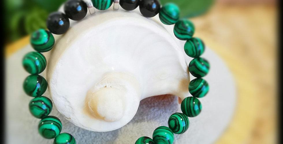 Bracelet, homme, en pierres de Malachite