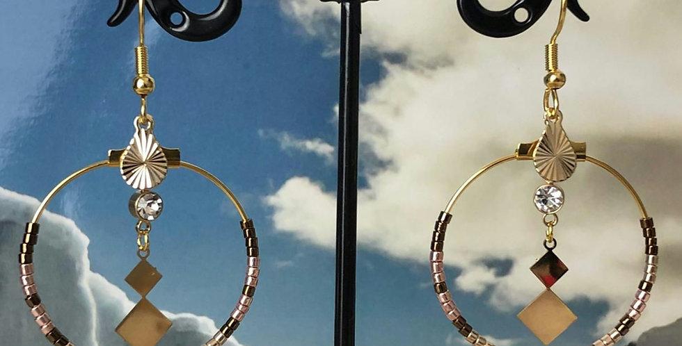 Boucles d'oreilles en acier inoxydable doré