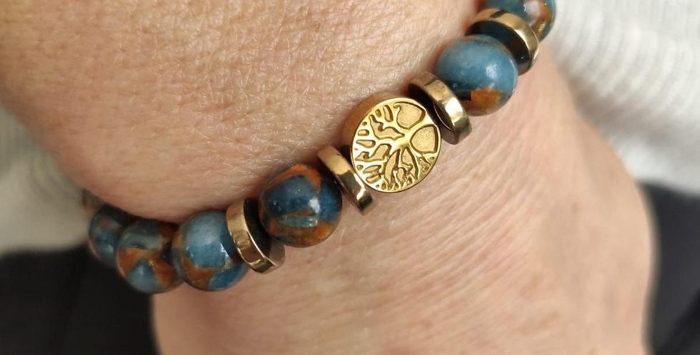 Bracelet en quartz bleu et doré et hématites dorées