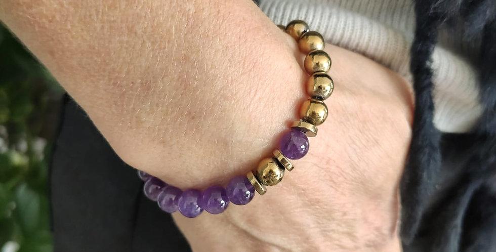 Bracelet femme en pierres d Améthyste et hématites