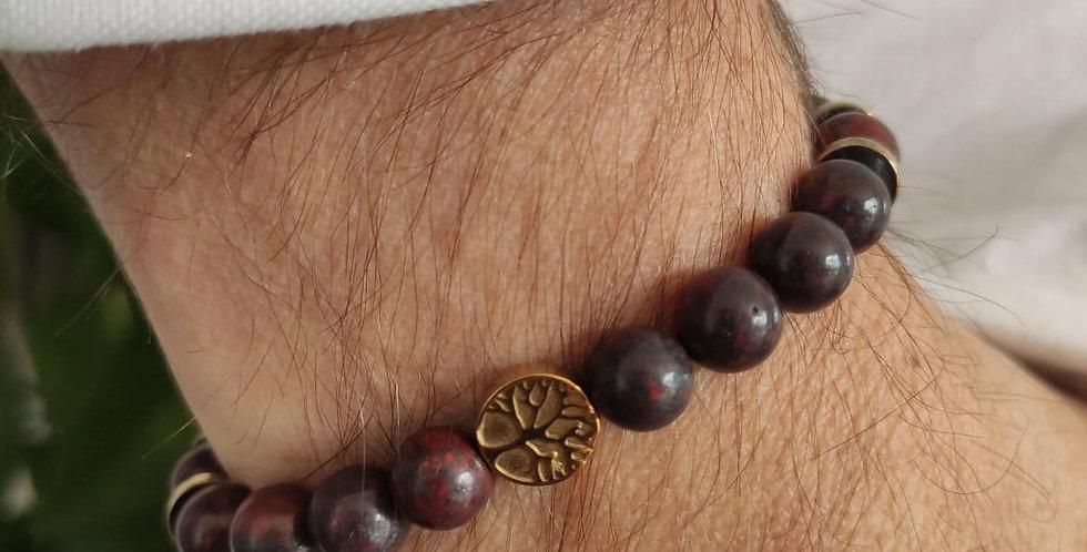 Bracelet en Jaspe rouge foncé et hématites dorées
