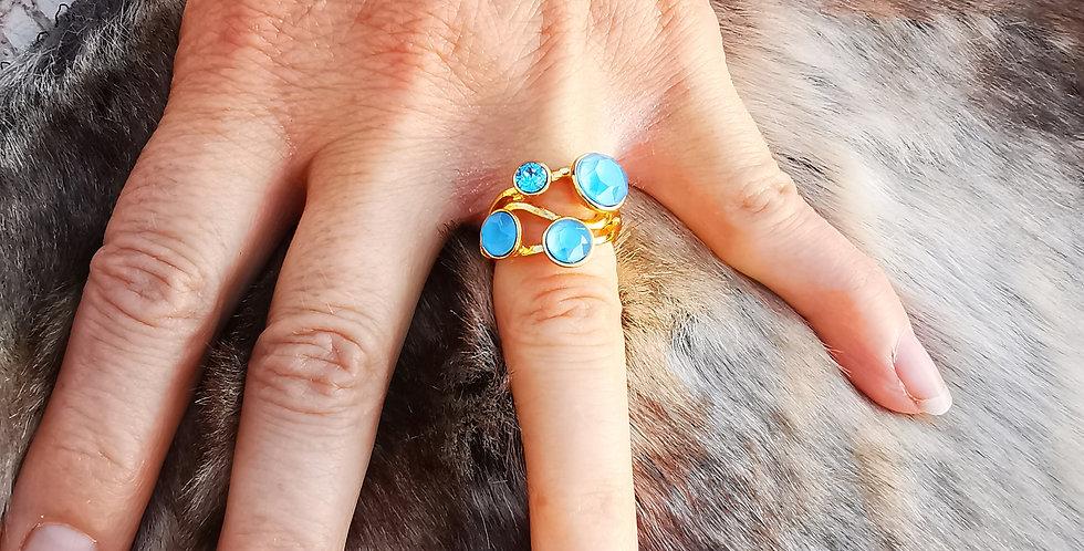Bague Cristaux Swarovski 4 cristaux bleus