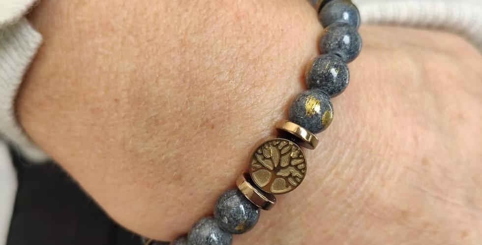 Bracelet femme en pierres minérales et hématites