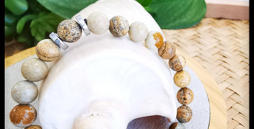 Bracelet, homme, en pierres de Jaspe paysage
