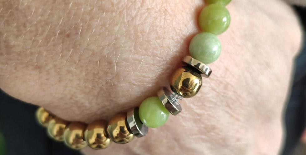 Bracelet jade et hématites