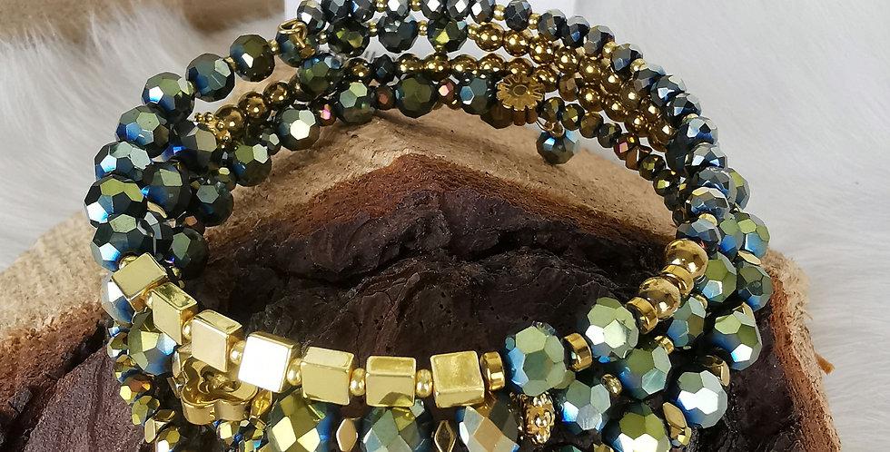 Bracelet multirangs, Hélène, vert et doré