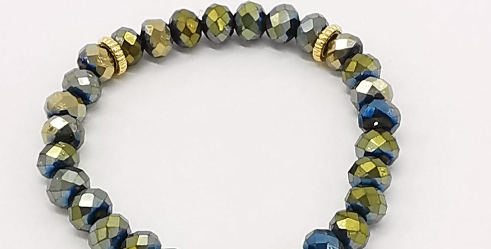 Bracelet femme en perles de verre, vert et doré
