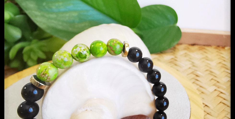 Bracelet, mixte, en pierre de Jaspe vert et onyx noir