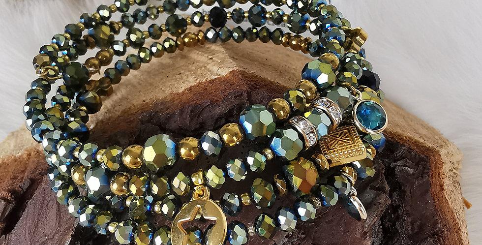 Bracelet multirangs, Hélène vert et doré.