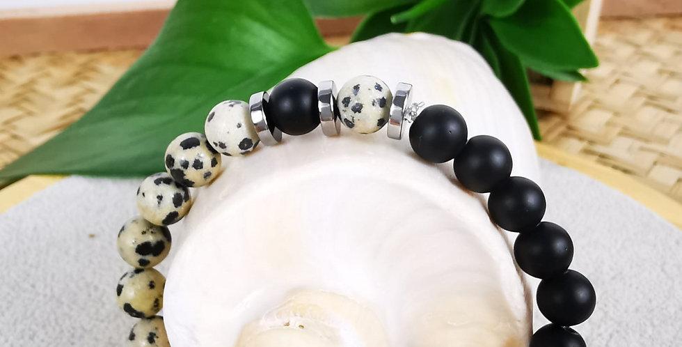 Bracelet mixte en Jaspe Dalmatian et onyx noir