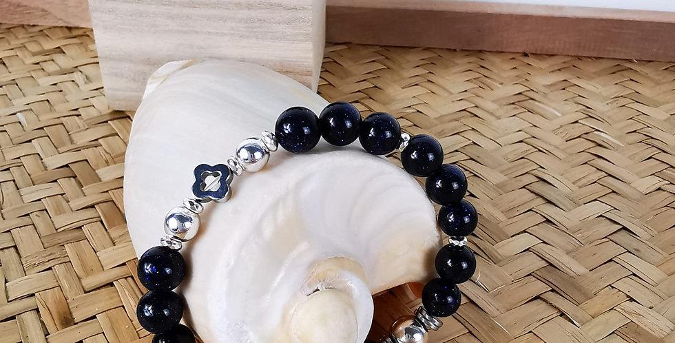Bracelet  femme en pierres de Soleil bleu