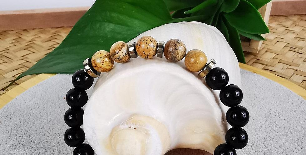 Bracelet en Jaspe paysage, onyx noir et hématites argentées