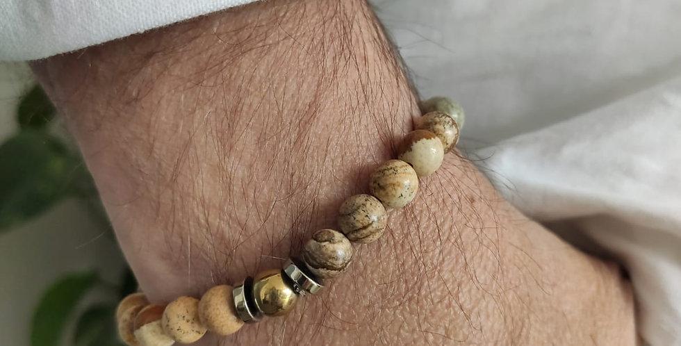 Bracelet mixte e en Jaspe paysage
